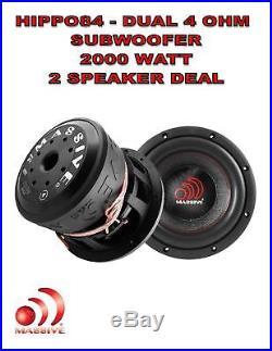 (2) 8 Inch Car Audio Subwoofer Dual Voice Coil 4 Ohm 2000W Massive Hippo 84