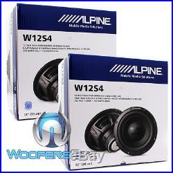 (2) Alpine W12s4 12 Subs Car Audio 4-ohm 750w Subwoofers Bass Speakers New