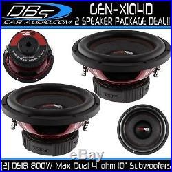 2 DS18 GEN-X104D 10 Subwoofers 1600W Max Dual 4 Ohm 10 inch Car Bass Sub Woofer