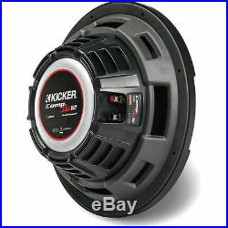 (2) KICKER 43CWRT121 CompRT CWRT121 12 Inch Dual 1 Ohm Subwoofers