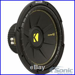 (2) KICKER CompC 44CWCS104 1000W 10 Inch Single 4-Ohm Car Subwoofers