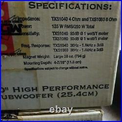 2 MTX Terminator XTS subwoofers 10 inch MADE IN USA 4 ohm NEW NEVER INSTALLED