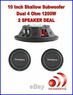 (2) Massive Audio UFO10 10 Inch Shallow Truck Car Subwoofer 1200 Watt Dual 4 Ohm