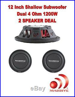 (2) Massive Audio UFO12 12 Inch Shallow Truck Car Subwoofer 1200 Watt Dual 4 Ohm