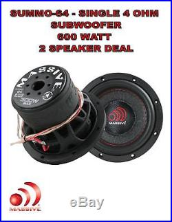 6 Inch Car Audio Subwoofer Single Voice Coil 4 Ohm 600W Massive Summo 2 SPEAKERS