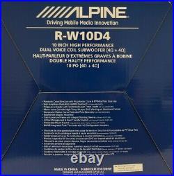 Alpine R-w10d4 10 Inch 4-ohm Type R High Performance DVC Subwoofer 750w Rms
