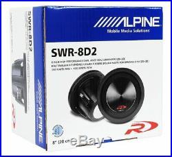 Alpine SWR-8D2 8 Inch 1000w Dual 2 Ohm Car Subwoofer+Slim Sub Enclosure Box