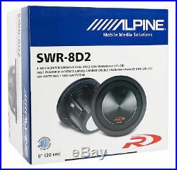 Alpine SWR-8D2 8 Inch 1000w Dual 2 Ohm Type-R Car Subwoofer Sub SWR8D2+ROCKBOX