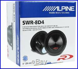 Alpine SWR-8D4 8 Inch 1000w Dual 4 Ohm Car Subwoofer+Slim Sub Enclosure Box