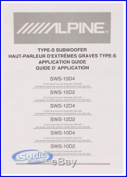 Alpine SWS-10D2 1000W 10 inch Dual 2-Ohm Car Subwoofer FREE UPGRADE TO SW10D2
