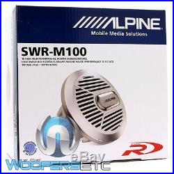 Alpine Swr-m100 10 Sub 900w Single 4-ohm Marine Boat Subwoofer Bass Speaker New