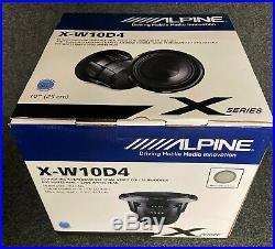 Alpine X-w10d4 10 Inch Subwoofer Dual 4 Ohm X Series 900w Rms/2700w Peak