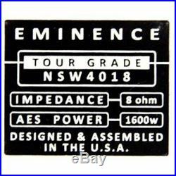 Eminence NSW-4018-8 18 inch Neodymium Tour Grade Subwoofer 8 ohm FREE US SHIP