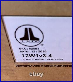 JL Audio 12W1v3-4 Car Audio 12-inch Subwoofer Speaker Driver, 300 Watts, 4 Ohms