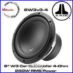 JL Audio W3 8W3v3-4 8 Inch 165mm 250 Watts RMS 4 Ohms Car Sub Subwoofer 8W3