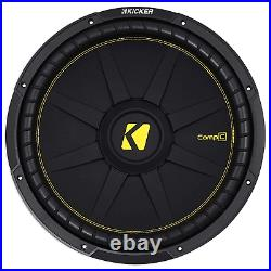KICKER 44CWCD154 CompC 15 Inch Dual 4 Ohm 600W RMS Power Car Audio Subwoofer