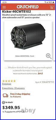 KICKER 46CWTB102 10 inch 800 max rms 2ohm Car Subwoofer