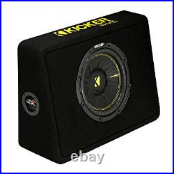 Kicker 10-Inch CompC 2-Ohm Loaded Shallow Subwoofer Box Enclosure (2 Pack)