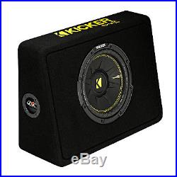 Kicker 10-Inch CompC 2-Ohm Loaded Shallow Subwoofer Box Enclosure 44TCWC102