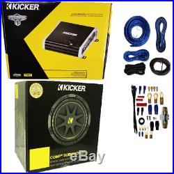 Kicker 125W RMS 2-Channel Amplifier With 10-Inch Subwoofer 4 Ohm + 4 Gauge Amp Kit