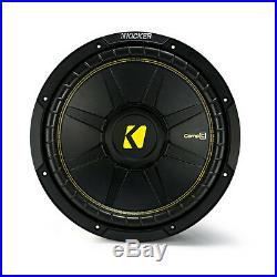 Kicker 12 Inch CompC 1200 Watt 4 Ohm Single Voice Coil SVC Subwoofer 44CWCS124