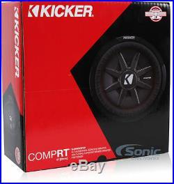 Kicker 43CWRT82 600 Watt CompRT Dual 2 Ohm Shallow Slim 8 inch Car Subwoofer Sub