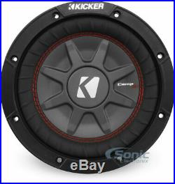 Kicker 43cwrt82 8 inch CompRT 2 Ohm Shallow Mount Slim Car Subwoofers (2 Pairs)
