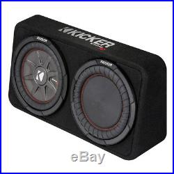 Kicker 800W Dual 10 Inch 4-Ohm Slim Shallow Loaded Subwoofer Enclosure (2 Pack)