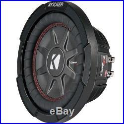Kicker 8 Inch Dual 600 Watt CompRT 2 Ohm Shallow Slim Car Subwoofer 43CWRT82