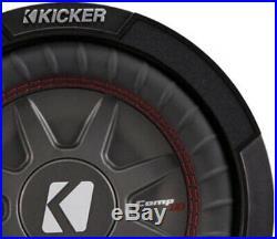 Kicker 8 Inch Dual 600 Watt CompRT 2 Ohm Shallow Slim Car Subwoofer (4 Pack)