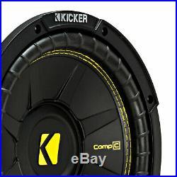 Kicker CompC Single 10 Inch 500 Watt Max Dual Coil 4 Ohm Car Subwoofer (4 Pack)