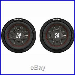 Kicker CompRT Single 12 Inch 1000W Max Dual 2 Ohm Shallow Car Subwoofer (2 Pack)