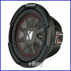 Kicker CompRT Single 6.75 Inch 300 Watt Max 1 Ohm Shallow Car Subwoofer (2 Pack)