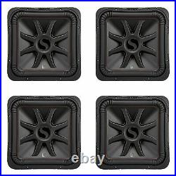 Kicker L7R 10 Inch 1000W Max Power 4 Ohm DVC Square Car Audio Subwoofer (4 Pack)