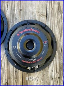 MINT Pair 10 Inch Punch HE subwoofers Old School Rockford Fosgate 8 Ohm RFP3810