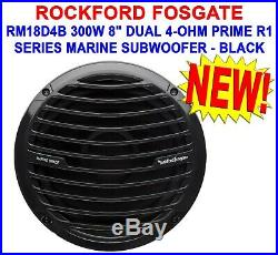 NEW! ROCKFORD FOSGATE RM18D4B 300W 8 INCH DUAL 4-ohm PRIME R1 MARINE SUBWOOFER