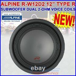 SINGLE ALPINE R-W12D2 2250W 12 INCH R-SERIES DUAL 2 Ohm CAR SUBWOOFER RW12D2 NEW