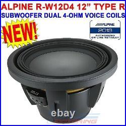 SINGLE ALPINE R-W12D4 2250W 12 INCH R-SERIES DUAL 4 Ohm CAR SUBWOOFER RW12D4 NEW