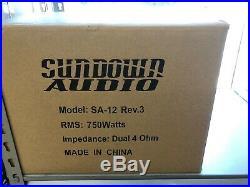 SUNDOWN AUDIO SA-12 D2 REV. 3 SUB 12 750W DUAL 4 -ohm SUBWOOFER BASS SPEAKER